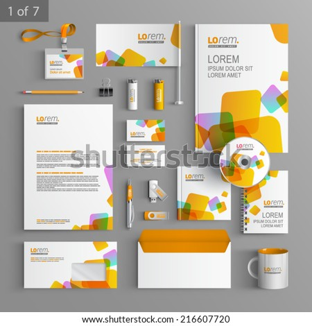 White stationery template design with yellow square elements. Documentation for business.