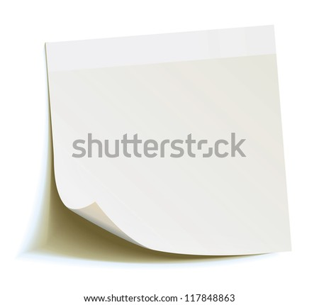 White stick note isolated on white background, vector illustration