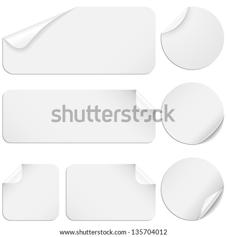 White Stickers - Set of white paper stickers isolated on white background. #135704012