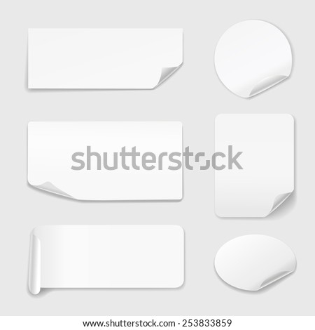White Stickers - Set of white paper stickers isolated on white background.  Round, rectangular. Vector illustration #253833859