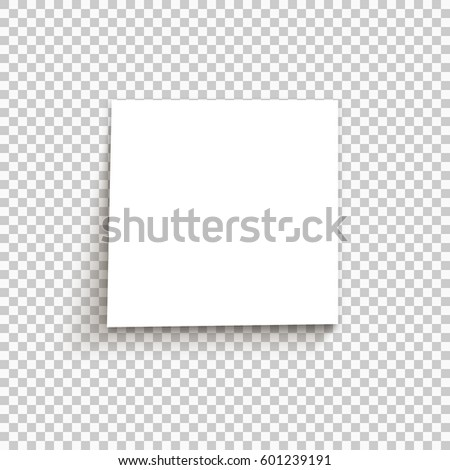 White sticky note on transparent background. Vector illustration.