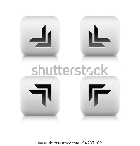 White stone arrow web 2.0 button. Rounded square shape with reflection and shadow on white