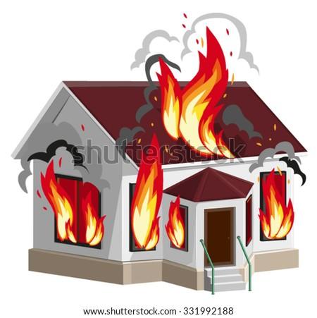 white stone house burns