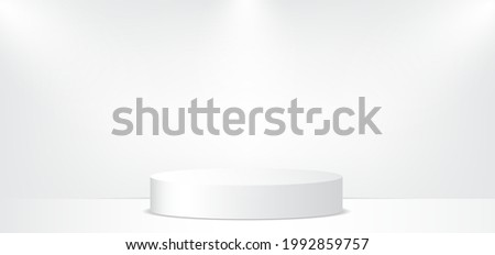 White studio background with stage or podium and beautiful lightning