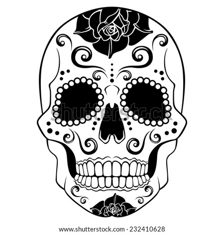 white sugar skull with floral