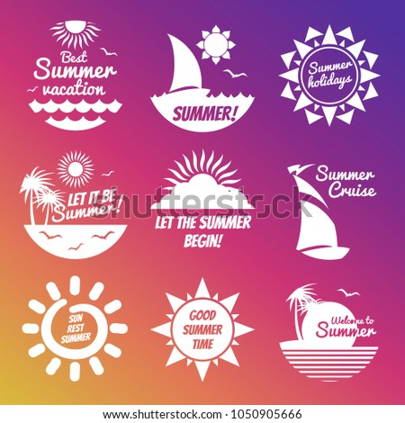 White summer rest labels with sun and sea on colorful background. Vector illustration