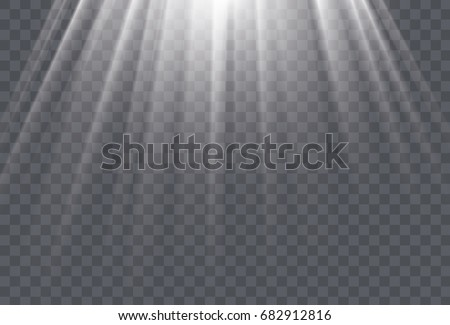 white sun rays and glow light