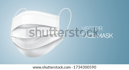 White surgical face mask, vector illustration. Virus protection medical mask, isolated on gray gradient background in a side view. Disease protective disposable mask with elastic ear loop band.