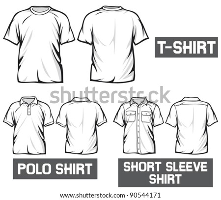 white t-shirt, short sleeve and polo