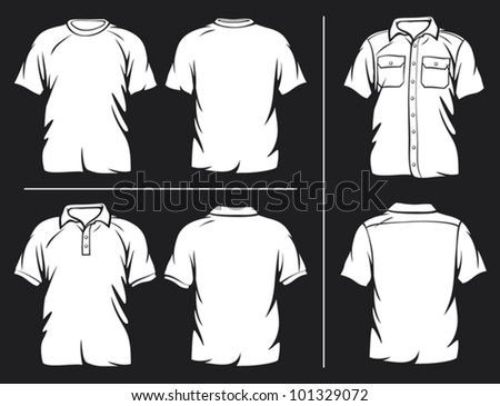white t-shirt, short sleeve shirt and polo shirt