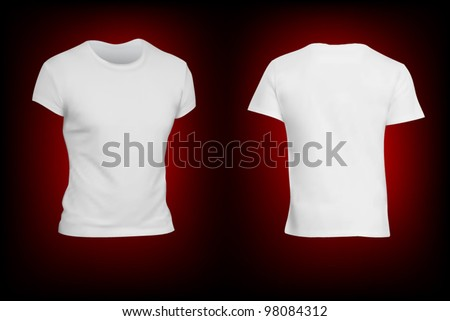 White T-shirt template isolated on black.