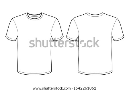 White T-shirt vector template (front and back) mockup isolated on white background.