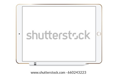 White tablet computer iPad Pro with Apple pencil isolated. Mockup to showcase your work in modern style. Vector illustration