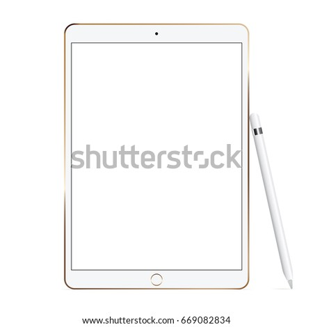 White tablet computer iPad Pro with pencil isolated on white background. Showcase your mobile web-site design screenshots on modern responsive screen. Vector illustration