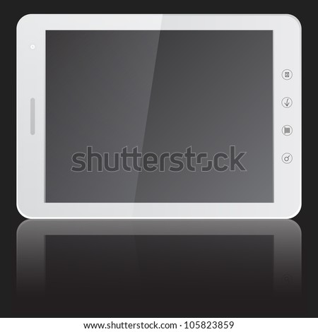 white tablet PC computer with blank screen horizontally isolated on black background. Vector  illustration. - stock vector