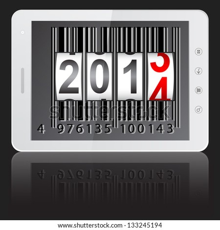 White tablet PC computer with 2014 New Year counter, barcode isolated on black background. Vector  illustration.
