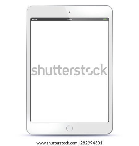 White Tablet PC Vector illustration with blank screen.