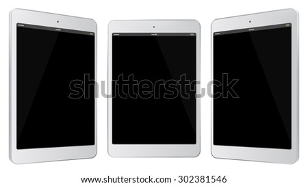 White Tablet PC Vector Illustration with side views.