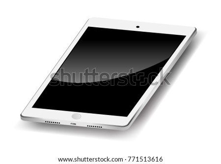 white tablet, portable pc, turned off