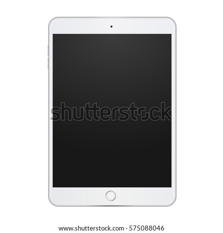 White tablet with empty screen on white background, vector digital template.