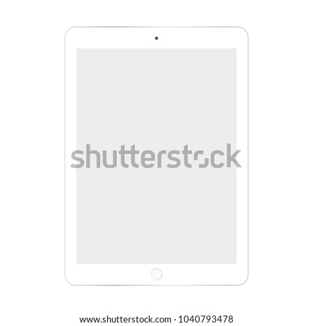 White tablet with grey screen vector eps10. Tablet with empty screen flat style. Top view white tablet.