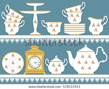 white tea set with roses motif