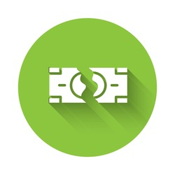 White Tearing apart money banknote into two peaces icon isolated with long shadow. Green circle button. Vector