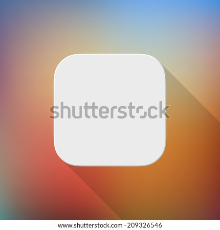 White technology app icon, blank button template with flat designed shadow and blured color gradient background for internet sites, web user interfaces, UI, applications, apps, and presentations.