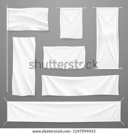 White textile advertising banners. Blank fabric cloths hanging on rope. Folded empty cotton stretched canvas. Vector mockup