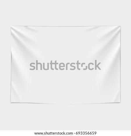 White textile banner. Vector illustration #693356659