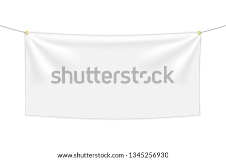 White textile banner with folds, isolated on white background. Blank hanging fabric template, empty mockup. Vector illustration