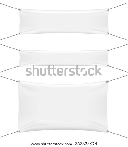 White textile banners set isolated on white background, vector illustration