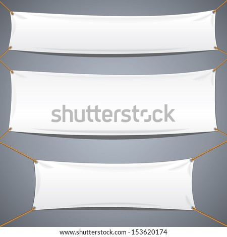 White Textile Banners. Vector Template Ready for Your Text and Design.