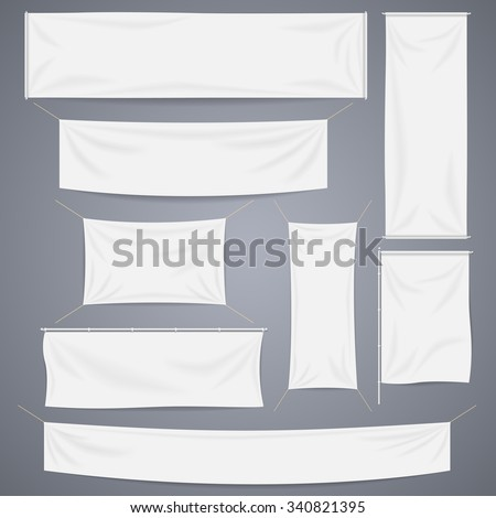 White textile banners with folds template set. Separate shadow. Cotton and canvas, flag blank, advertising empty, vector illustration