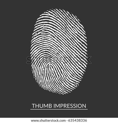White Thumb Impression On Isolated Background, Fingerprint Identification Symbol. Vector Illustration