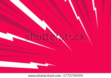 White Thunder, red background. Confrontation image illustration of thunder bolt. Flat illustration Comic Style Vector. Template for comic.Neon color.Style of competition design template without text.
