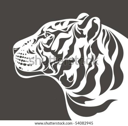 white tiger head profile   side