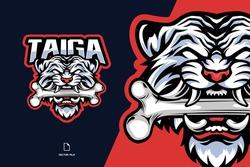 white tiger head with bone character mascot esport game logo illustration