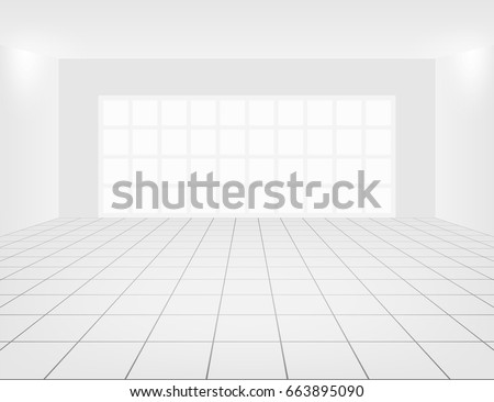 white tile floor and space in