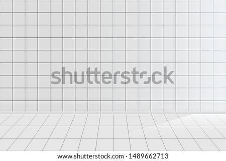white tile realistic vector