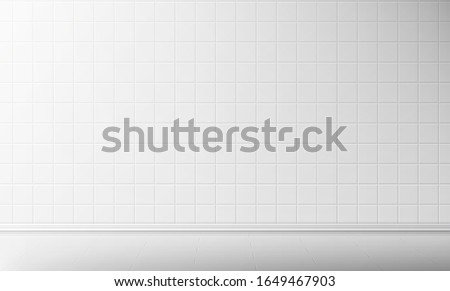 White tile wall and floor in bathroom vector seamless background, empty kitchen or toilet interior room with square mosaic surface, ceramic tiled grid pattern, bath decor, Realistic 3d illustration