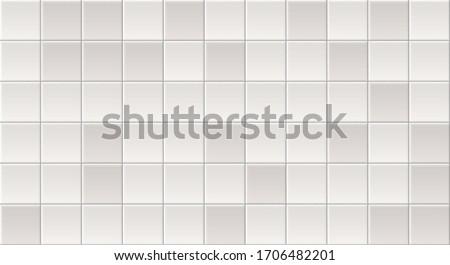 White Tiles Vector Texture. Seamless Pattern Of Beige, Gray Tiles. White Ceramic Textures Background. Seamless Tile Pattern. Grey Ceramic Brick Wall. Abstract Gray Vector Background. White Tile Wall.