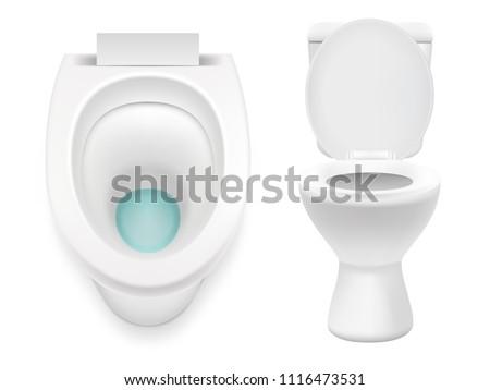 White toilet icon set. Vector realistic illustration isolated on white background.