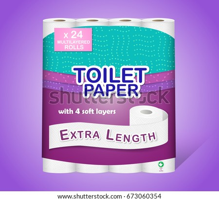 White toilet paper pack design isolated on purple background. Paper roll package with soft layers. Easy style pastel shades. Easy to place your logo or text. Can be used on web, flyers, banners, pack.