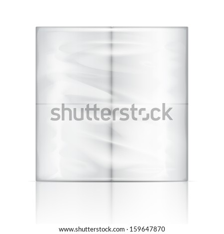 White toilet paper package with transparent wrapping. Vector illustration. Packaging collection.