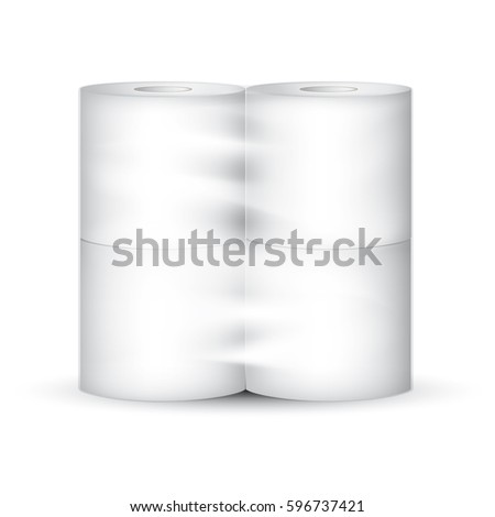 White toilet paper roll packaging with transparent wrapping. Vector illustration