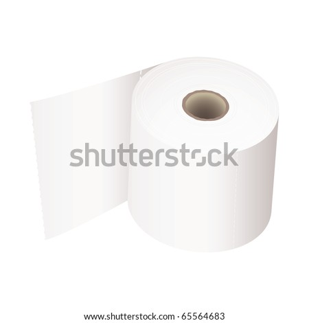 white toilet roll with perforations and realistic shadow - stock vector