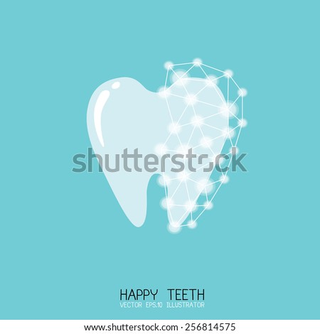White tooth surrounded by beams Taking care of teeth concept Vector