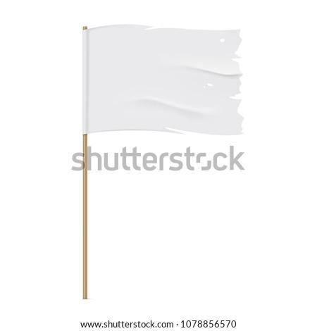 White torn flag. Waving fabric flag, isolated on background. Tattered vector flag design. #1078856570