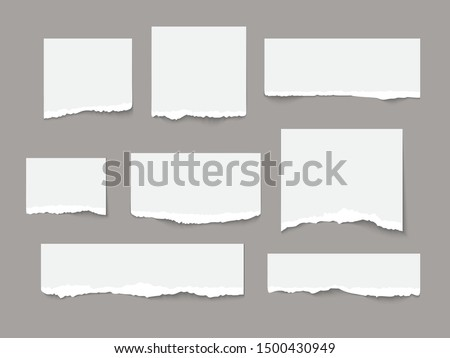 White torn paper tears pieces collection isolated with soft shadows realistic vector illustration